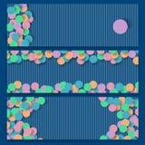 Горизонтальные абстрактные знамена установили с округлыми формами цвета стоковое фото rf