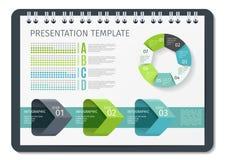 Горизонтальные брошюра или книга или блокнот с шаблоном дела весен infographic Шаблон для предпосылки представления Стоковые Изображения RF