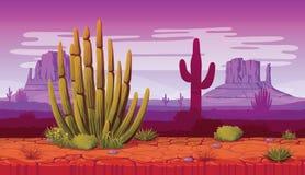 Горизонтальная безшовная предпосылка ландшафта с пустыней и кактусом Стоковая Фотография