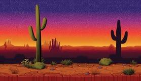 Горизонтальная безшовная предпосылка ландшафта с пустыней и кактусом Стоковое Изображение