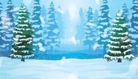 Горизонтальная безшовная предпосылка с ландшафтом зимы Стоковые Фотографии RF