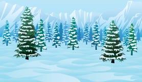 Горизонтальная безшовная предпосылка с ландшафтом зимы Стоковая Фотография RF