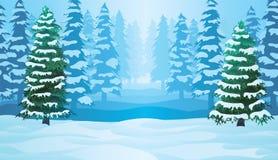 Горизонтальная безшовная предпосылка с ландшафтом зимы Стоковые Фото