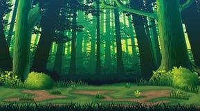 Горизонтальная безшовная предпосылка с лесом Стоковая Фотография