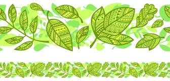 Горизонтальная безшовная предпосылка с зелеными листьями Стоковая Фотография