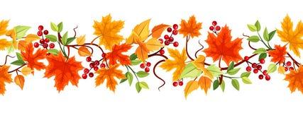 Горизонтальная безшовная предпосылка с листьями осени. бесплатная иллюстрация