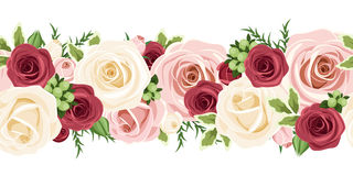 Горизонтальная безшовная предпосылка с красным цветом, пинком и белыми розами также вектор иллюстрации притяжки corel Стоковые Фотографии RF