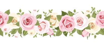 Горизонтальная безшовная предпосылка с розовыми розами. Иллюстрация вектора. Стоковое Изображение