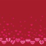 Горизонтальная безшовная текстура с сердцами Стоковые Изображения RF