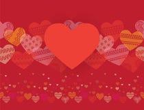 Горизонтальная безшовная текстура с сердцами Стоковые Изображения