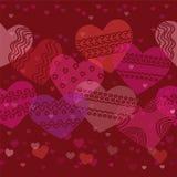 Горизонтальная безшовная текстура с сердцами Стоковое Изображение RF