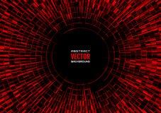 Горизонтальная геометрическая иллюстрация радиальных случайных абстрактных форм Красная предпосылка шарика диско Стоковое Изображение RF