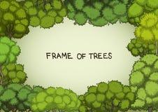 Горизонтальная рамка лиственных деревьев шаржа Стоковая Фотография RF