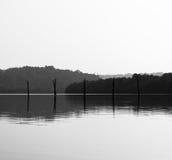Горизонтальная черно-белая предпосылка b отражений рыболовных сетей Стоковое Фото