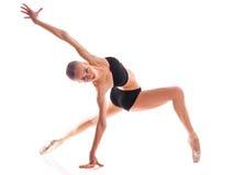 Горизонтальное фото балерины изолированное на белой предпосылке Стоковая Фотография RF
