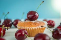 Горизонтальное фото булочки на таблице против голубой предпосылки Стоковые Изображения