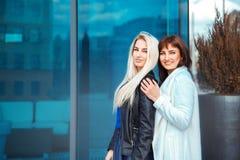 Горизонтальное фото 2 прелестных дам белокурых и брюнет Стоковая Фотография