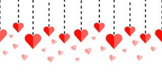 Горизонтально безшовный орнамент границы с красными сердцами и брошенными линиями на белой предпосылке иллюстрация штока