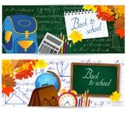 Горизонтальные знамена с школьными принадлежностями, листьями осени и математическими формулами Стоковая Фотография