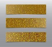 Горизонтальные знамена sequins золота комплекта glitter иллюстрация вектора