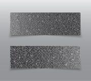 Горизонтальные знамена sequins серебра комплекта glitter иллюстрация вектора