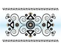 Горизонтальный орнамент с цветком Стоковые Фотографии RF