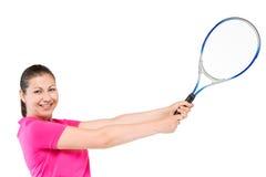 Горизонтальный портрет девушки с ракеткой тенниса в движении Стоковая Фотография RF