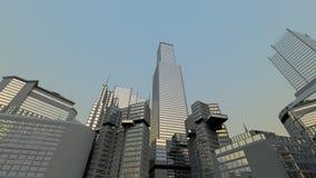 горизонт абстрактного города самомоднейший Стоковые Фотографии RF