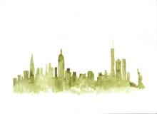 Горизонт акварели Нью-Йорка Стоковые Изображения