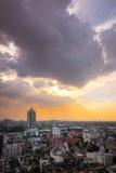 горизонт Бангкока городского пейзажа, Таиланд Бангкок метрополия и f стоковое фото rf