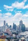 горизонт Бангкока городского пейзажа, Таиланд Бангкок метрополия и f стоковая фотография rf