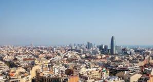 Горизонт Барселоны со славами Torre стоковые фотографии rf