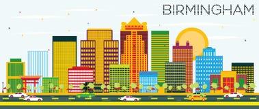 Горизонт Бирмингема с зданиями цвета и голубым небом иллюстрация вектора