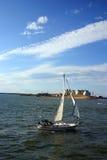 Горизонт Бостона, внутренняя гавань, США Стоковые Изображения