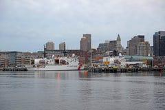 Горизонт Бостона и портовый район, Массачусетс, США Стоковая Фотография RF