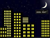 горизонт вечера города Стоковое Фото