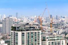 Горизонт вида на город Бангкока, Таиланд зданий стоковые фотографии rf