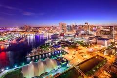 Горизонт внутренней гавани Балтимора, Мэриленда Стоковое Фото