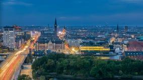 Горизонт в вечере, голубой час Копенгагена Стоковое фото RF