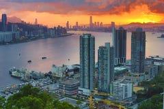 Горизонт гавани Виктории, Гонконга Стоковые Фотографии RF