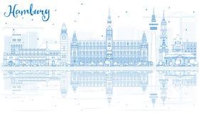 Горизонт Гамбурга плана с голубыми зданиями и отражениями бесплатная иллюстрация