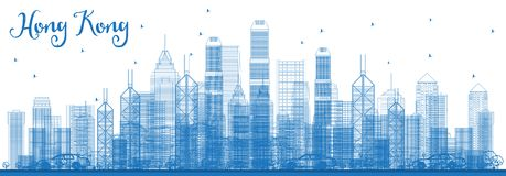 Горизонт Гонконга Китая плана с голубыми зданиями иллюстрация штока