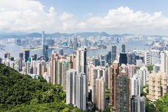 Горизонт Гонконга от пика Виктории Стоковая Фотография