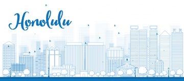 Горизонт Гонолулу плана с голубыми зданиями hawaii бесплатная иллюстрация