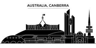 Горизонт города вектора архитектуры Австралии, Канберры, городской пейзаж перемещения с ориентир ориентирами, зданиями, изолирова бесплатная иллюстрация