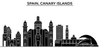Горизонт города вектора архитектуры Испании, Канарских островов, городской пейзаж перемещения с ориентир ориентирами, зданиями, и бесплатная иллюстрация