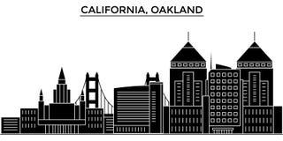 Горизонт города вектора архитектуры США, Калифорнии Окленд, городской пейзаж перемещения с ориентир ориентирами, зданиями, изолир бесплатная иллюстрация