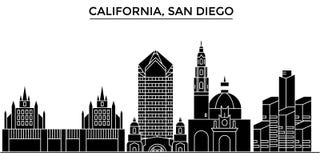 Горизонт города вектора архитектуры США, Калифорнии Сан-Диего, городской пейзаж перемещения с ориентир ориентирами, зданиями, изо Стоковое Изображение