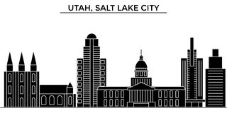 Горизонт города вектора архитектуры США, Юты, Солт-Лейк-Сити, городской пейзаж перемещения с ориентир ориентирами, зданиями, изол иллюстрация штока
