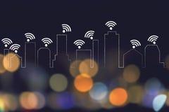 Горизонт города где каждое здание подключено к networ Wi-Fi Стоковые Изображения